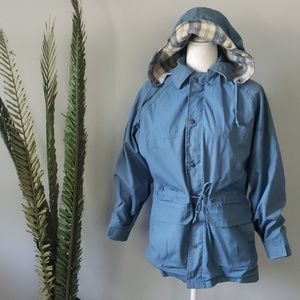 Vintage 60s Woolrich blue coat with plaid accents